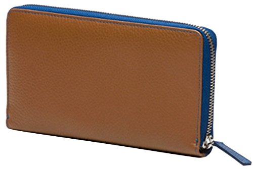 DKNY Ladies Leather Wallet, Blue, Camel; Dimensions: 8.1 x 4.2 x 1.1 in (LxHxW) by DKNY