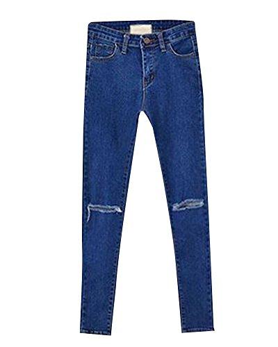 Leggings Taille Slim Dchirs Jeans Printemps Collant Haute Denim Bleu 2 Crayon Femme Pantalons waqOx0ap