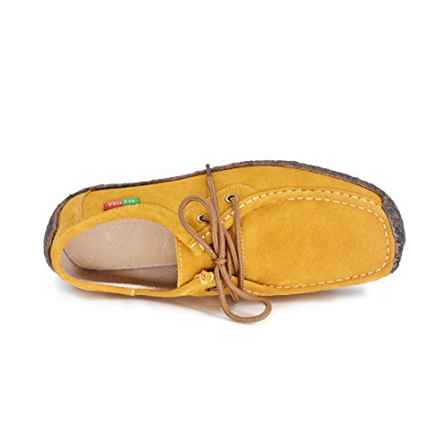 Snail Oxford Shoes Shoes up Yellow Shoes Suede Susanny Sneaker Flat Walking Women Casual Lace 56WwqqcHX