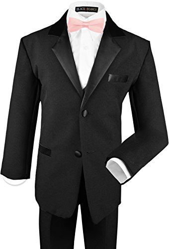 Black N Bianco Boy's Tuxedos Dresswear Set (Medium / 6-12 Months, Black with Baby Pink Bow Tie)