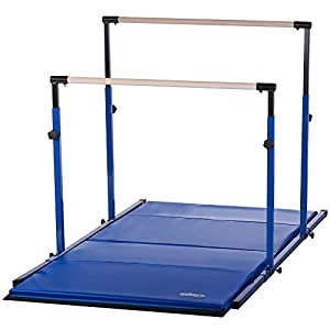 "Nimble Sports ""3Play"" Horizontal Bars with 8ft Blue Mat Combo"