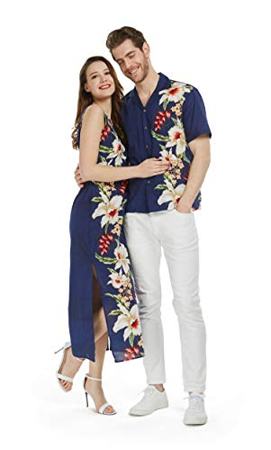 Made in Hawaii Couple Matching Luau Aloha Shirt Maxi Tank Dress Side Rafelsia Navy M-S -