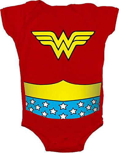 Wonder Woman Uniform Costume Red Snapsuit Infant Onesie Baby Romper (24 Months) -