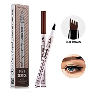 Eyebrow Tattoo Pen -LQQL microblade pen Microblading Eyebrow Pencil with a Micro-Fork Tip Applicator Creates Natural Looking Brows Effortlessly and Stays on All Day (#02 Brown)