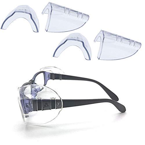 Side Shields - VintageBee 2 Pairs Safety Eye Glasses Side Shields Slip On Clear Side Shield Fits Small to Medium Eyeglasses
