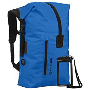 Earth Pak Waterproof Backpack: 35L/55L Heavy Duty Roll-Top Closure with Easy Access Front-Zippered Pocket and Cushioned Padded Back Panel for Comfort; IPX8 Waterproof Phone Case Included