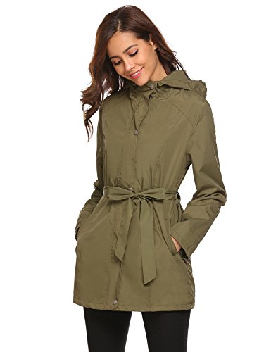 Zeagoo Women's Lightweight Waterproof Rain Jacket Hooded Outerwear Hiking Outdoor Raincoat With Belt