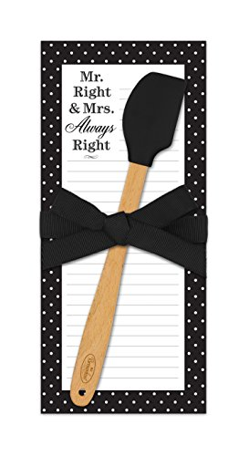 Brownlow Gifts Kitchen Companions Magnetic List Pad with Mini Spatula, Mr. Right and Mrs. Always Right
