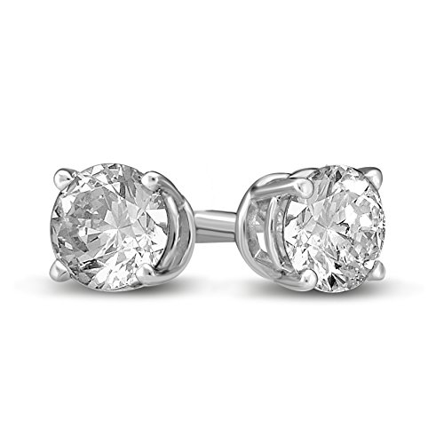 Diamond Jewel 14K Gold Round Diamond Stud Earrings (White-Gold, 1)