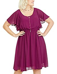 COOEPPS Womens Plus Size Chiffon Flowy Pleated Casual Dresses Short Sleeve