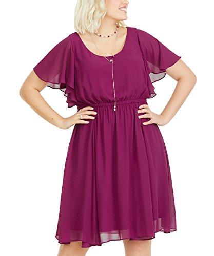 COCOEPPS Plus Size Chiffon Bridesmaid Formal Prom Evening Short Sleeve Dresses for Women Girls(Purple red,24W)