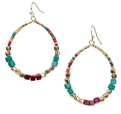 Multi Colored Glass Beaded Bracelet (Bohemian Multi-Colored Cube Beaded Hoop Earrings for Women | SPUNKYsoul Collection (Teal/Red/Cube))