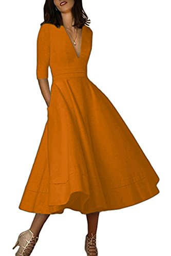 YMING Women's Deep V Neck Dress 1950s Vintage Dress Classic Wedding Dresses Bronze XL