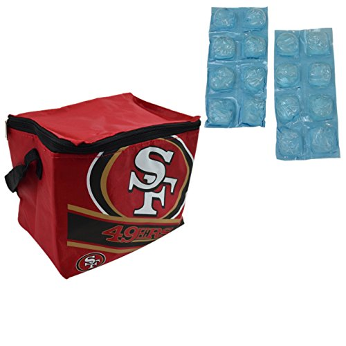 NFL Shop Collapsible Insulated Lunch Bag with Re-freezable Ice Packs Bundle (San Francisco 49ers)