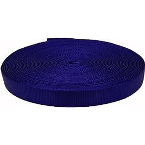 Country Brook Design 1 Inch Blue Tubular Nylon Webbing, 20 Yards