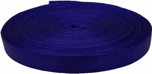 Country Brook Design 1 Inch Blue Tubular Nylon Webbing, 20 Yards