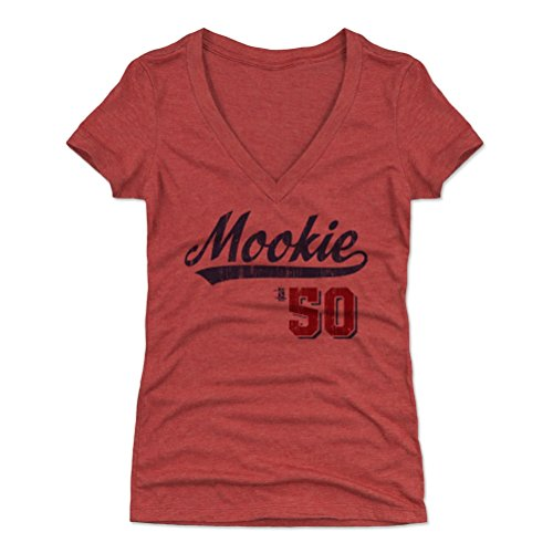 500 LEVEL Mookie Betts Women's V-Neck Shirt Medium Tri Red - Boston Baseball Women's Apparel - Mookie Betts Players Weekend B