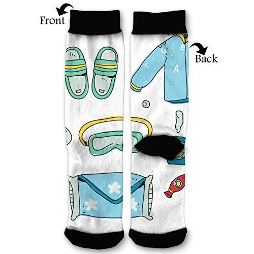 Bedtime Boy Starter Pack Hand Drawn Casual Anti Slip Crew Socks Novelty Ankle Socks for Women Men