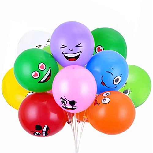 Latex Smile Face Balloons Emotion Expression Multicolor Balloons for Party Decoration (Set of 100pcs) (12 inches) ()