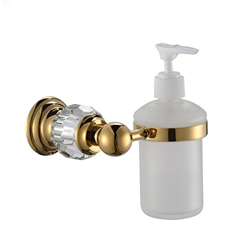 Sumin Home QC2211MG Modern Luxury Crystal Wall Mounted Shower Soap Dispenser for Bathroom, Gold