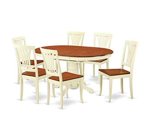 Wood & Style Furniture 7-Piece Dining Table Set Home Office Commerial Heavy Duty Strong Décor ()