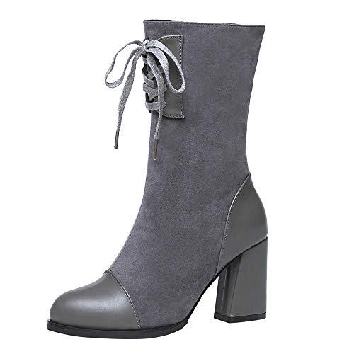 893d4df5c63a LILICAT Womens High Heel Ankle Boots Block Lace up Zip Ladies Biker Winter Booties  Shoes Size