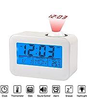 LCD Display Alarm Clock Voice Control Ceiling Projection Digital Alarm Clock Projection with Temperature Date Calendar Snooze