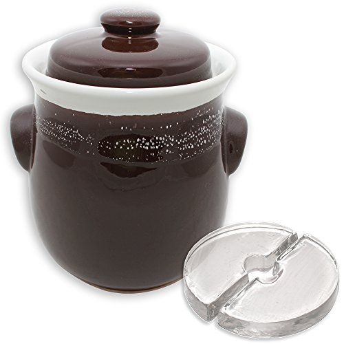 Stone Creek Trading 2.5L Fermenting Crock with Weights (Brown & White (Brown Crock)