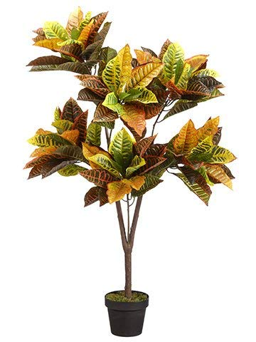 Silk Tree Warehouse Company Inc One 4 Foot Tall Outdoor Artificial Croton Tree Potted Plant