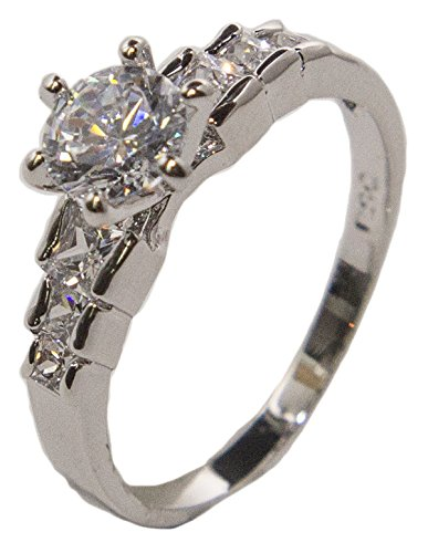 - Women's Rhodium Plated Dress Ring Round and Princess Cut CZ 015 (9)