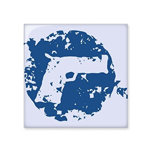 Blue Peace Symbol Gun Simple Creative Design Round Illustration Pattern Ceramic Bisque Tiles for Decorating Bathroom Decor Kitchen Ceramic Tiles Wall Tiles 80%OFF