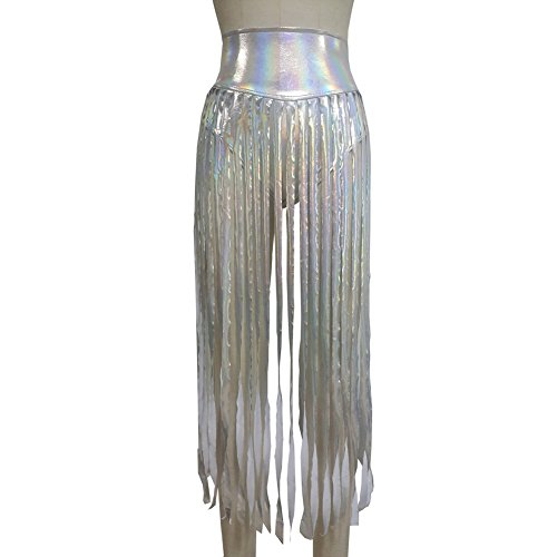 Pinda Sexy Women Iridescent Holographic Fringe High Waisted Shorts Long Skirt(S, Silver)