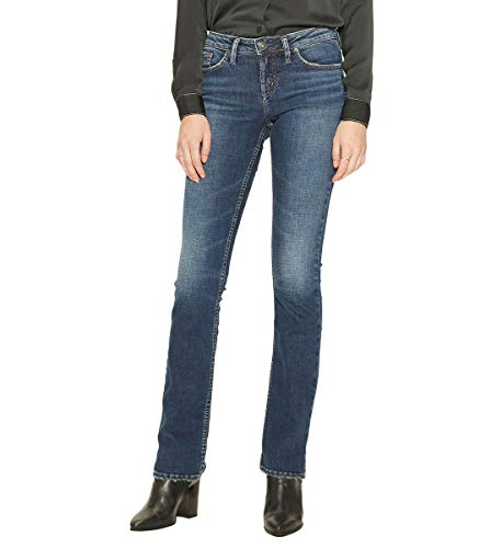 Silver Jeans Co. Women's Aiko Mid Rise Slim Bootcut, Vintage Dark wash, 29x31