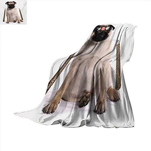 Pug Custom Design Cozy Flannel Blanket Ninja Puppy with Nunchuk Karate Dog Eastern Warrior Inspired Costume Pug Image Lightweight Blanket Extra Big 80 x 60 inch Cream Black -