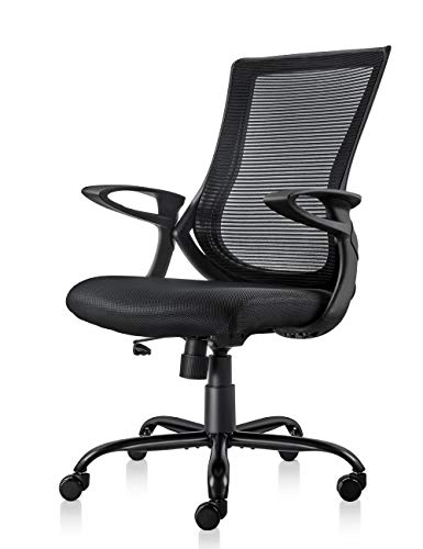 (MDL Furniture Mesh Office Chair Ergonomic Mid Back Desk Chair with Comfortable Armrest Task Chair(Black))