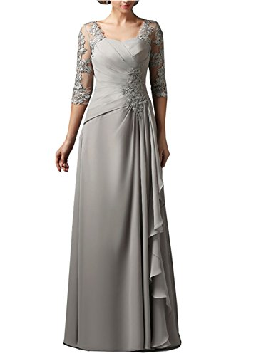 Fitty Lell Women S 3 4 Sleeves Chiffon Lace Mother Of The Bride