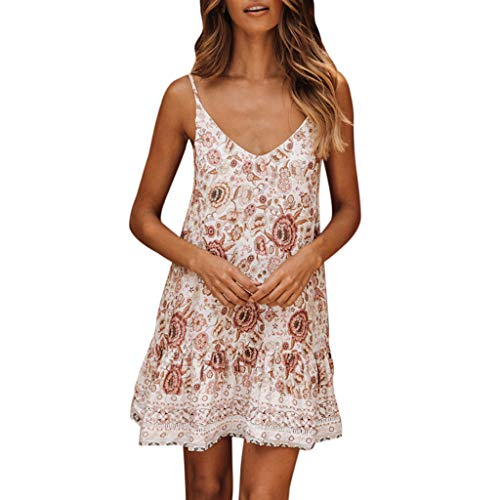 (Women Summer Dresses, Sleeveless Boho Holiday Beach Skirt Floral Halter Ruffled V-Neck Party Daily Sundress(White,L))