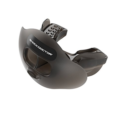 Shock Doctor 3300 Max Airflow Lip Guard Mouthguard With Tether, Trans Black, Youth