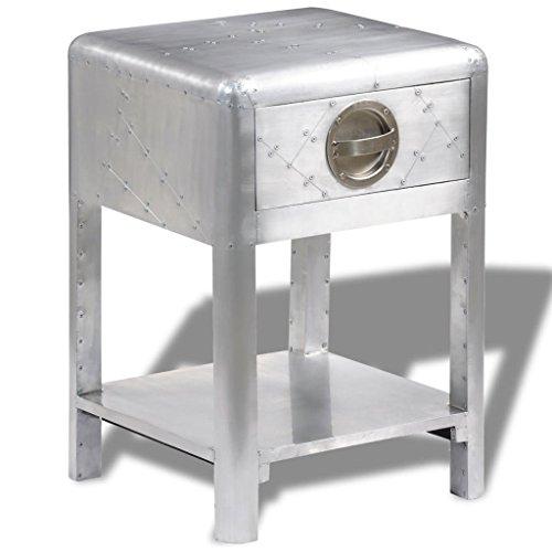 vidaXL Aluminum Aviator Side Coffee Table Nightstand Telephone Stand 1 Drawer