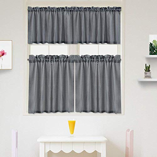 IDEALHOUSE 3 Pieces Waffle Weave Textured Kitchen Tier Curtains and Valance Set for Bathroom,Water Repellent Tailored Short Cafe Curtains,Grey(60