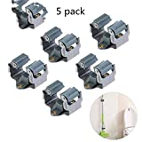 Etzion 5 Pack Wall Mounted Broom Mop Holder, Broom Gripper Clip for Bathroom, Garden or Balcony