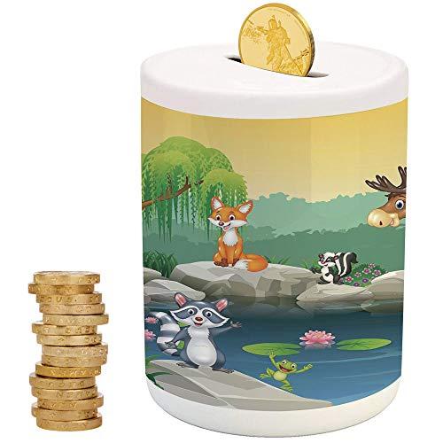 Cartoon Decor,Piggy Bank,Printed Ceramic Coin Bank Money Box for Cash Saving,Funny Mascots Animals by The Lake Moose Fox Squirrel Raccoon Kids Nursery - Bank Savvy Pig