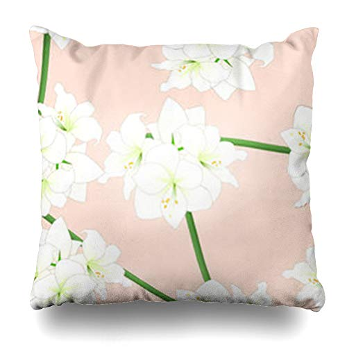 - VivYES Throw Pillow Covers Pattern Green Amarillo White Amaryllis On Light Pink Christmas Orange Nature Belladonna Bloom Blossom Zippered Pillowcases Square Size 20