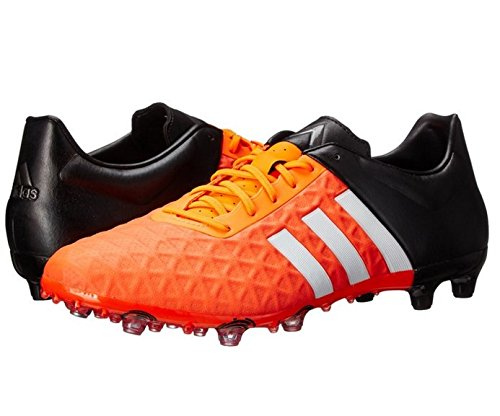 adidas Performance Men's Ace 15.2 FG/AG Soccer Shoe, White/Core Black/Solar Orange, 7.5 M US - Football Shoes Ag