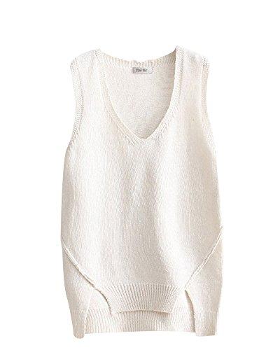 Collar Asym Haut T Sweater Casual V Sans shirt Femme Manches dwz7qZgd