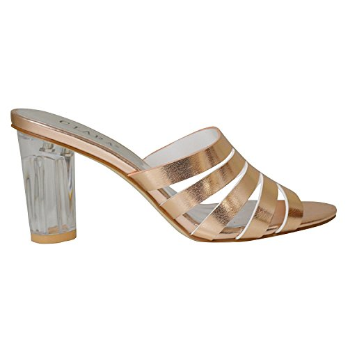 Ciara Sandals Mule Strappy Champagne Women's Slip Lillian On Glass Heel S1OqS68r
