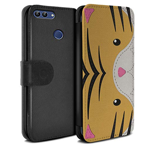 (eSwish PU Leather Wallet Flip Case/Cover for Huawei P Smart/Tiger Design/Animal Stitch Effect Collection)