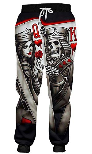 Men Joggers 3D Print Queen and King Poker Skull Pants Casual Trousers ()