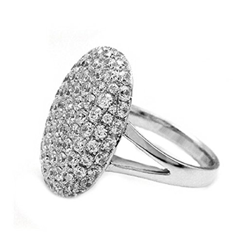 KMG Women's Cut Crystal Rhinestones Oval Design Wedding Engagement Ring Jewelry (9, Silver)