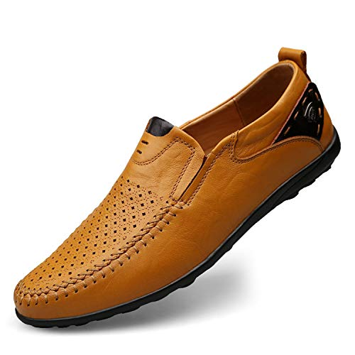 2019 Genuine Leather Italian Men Loafers Moccasins Slip on Mens Boat Shoes,Hollow Out Yellow,12
